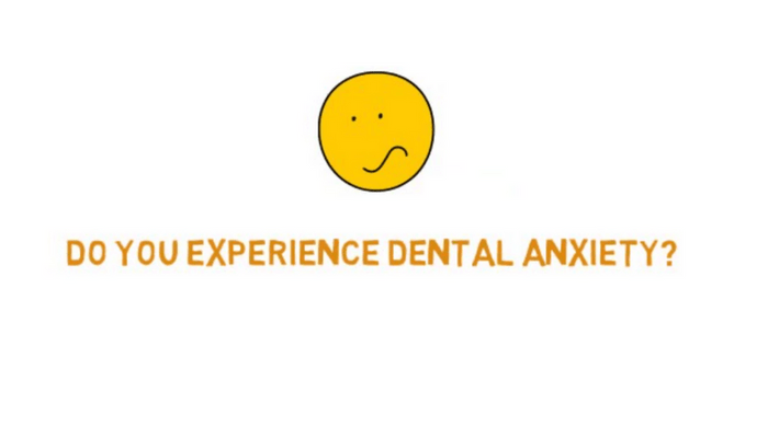 Illustration of a worried face with the caption: do you experience dental anxiety?